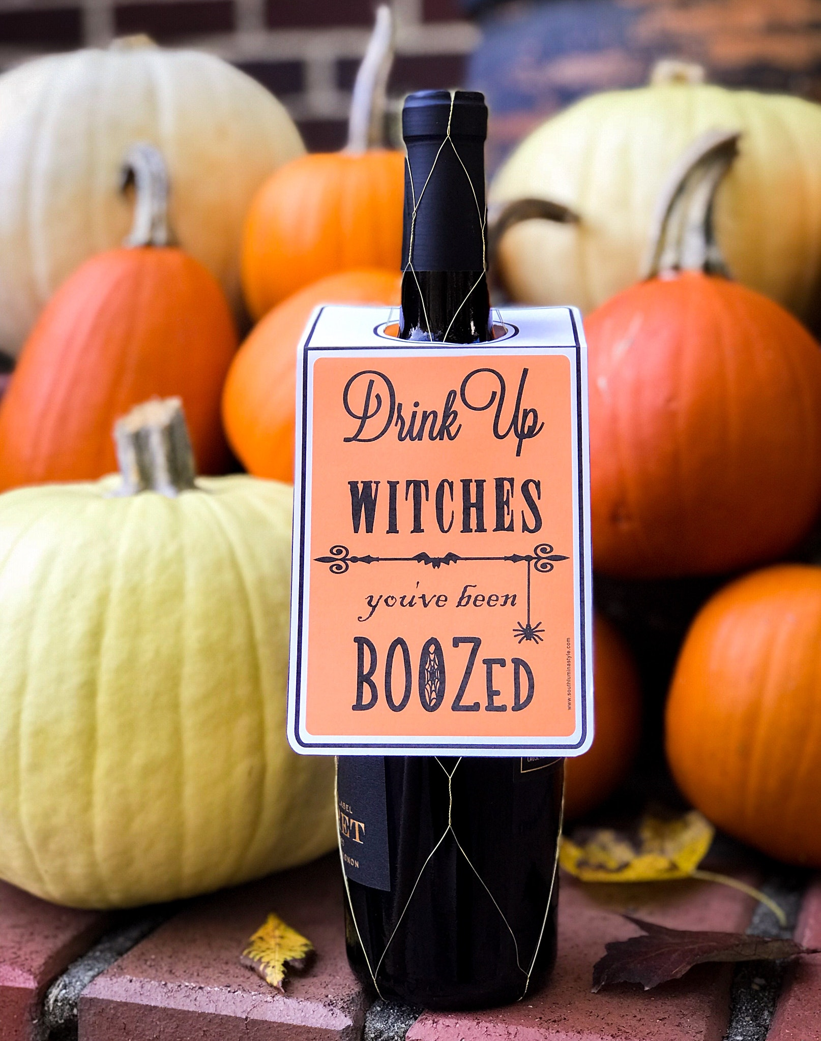 Halloween You've Been Boozed Drink Up Witches Color Hang Tag Printable
