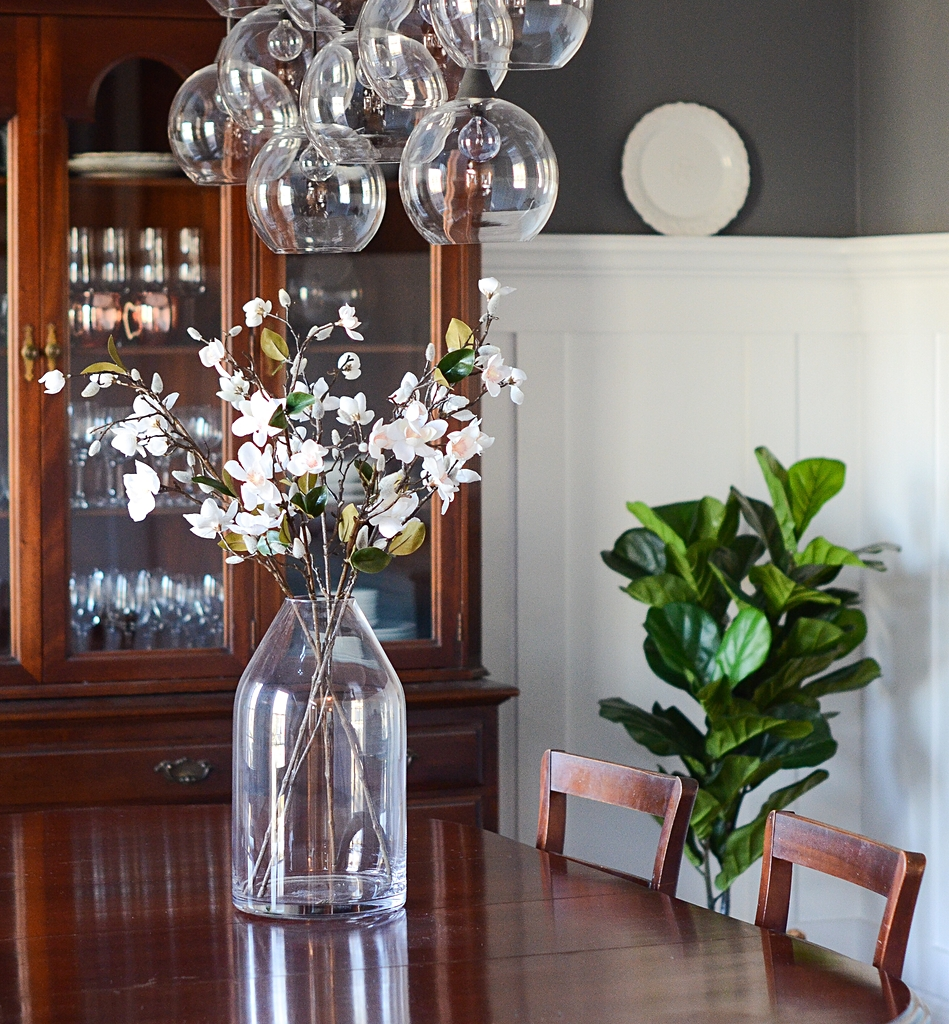 dining room, michaels, fake flowers, artificial flowers, farmhouse style, farmhouse decor, flowers, spring