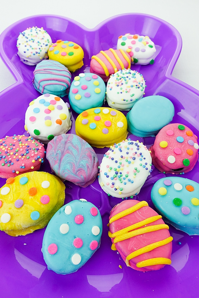 Easter Snacks For Kids - Decorated Oreo Easter Egg Cookies