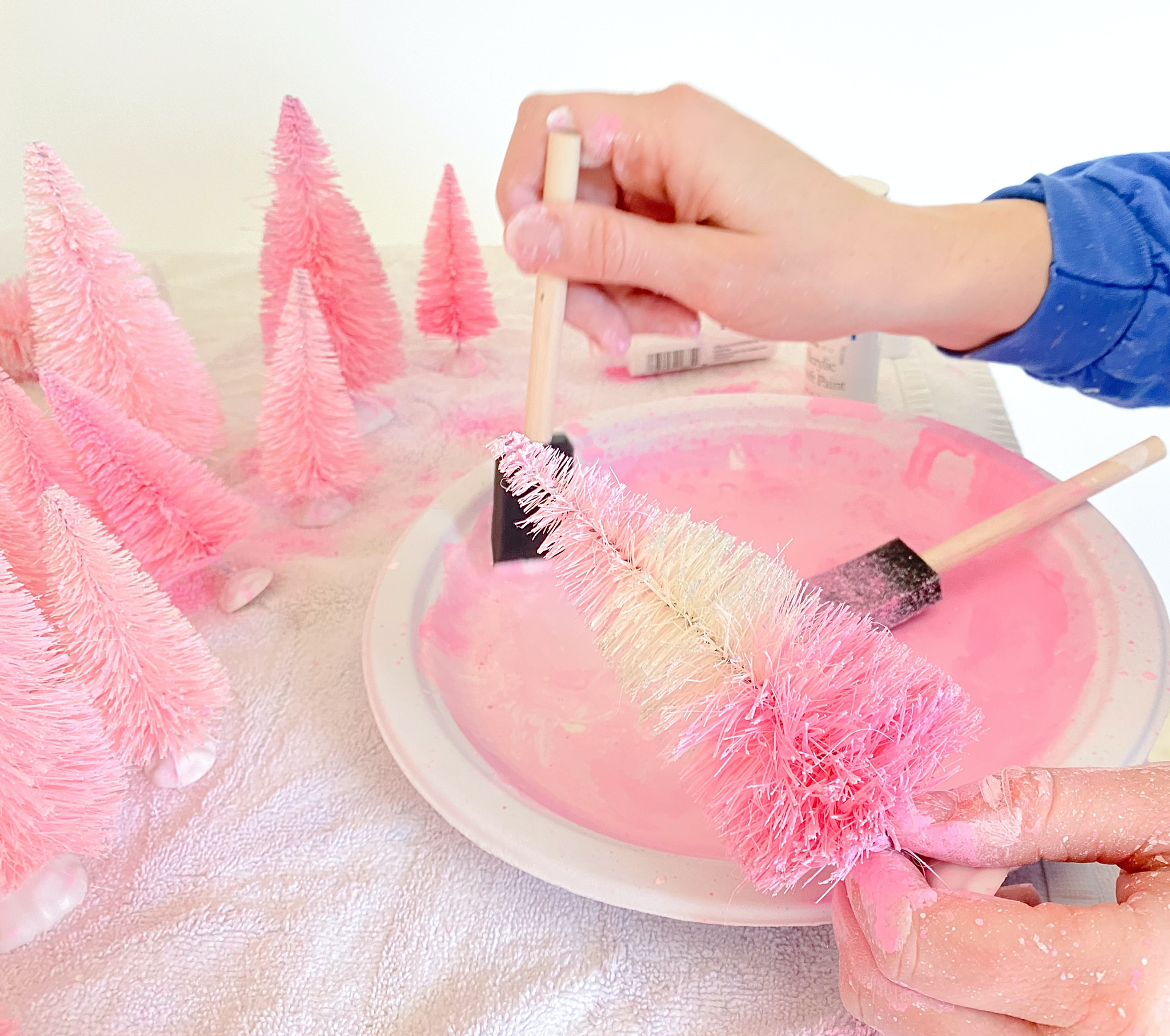 how to paint your bottle brush trees