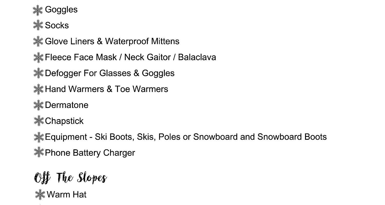 thumbnail of Family Ski Trip Packing List