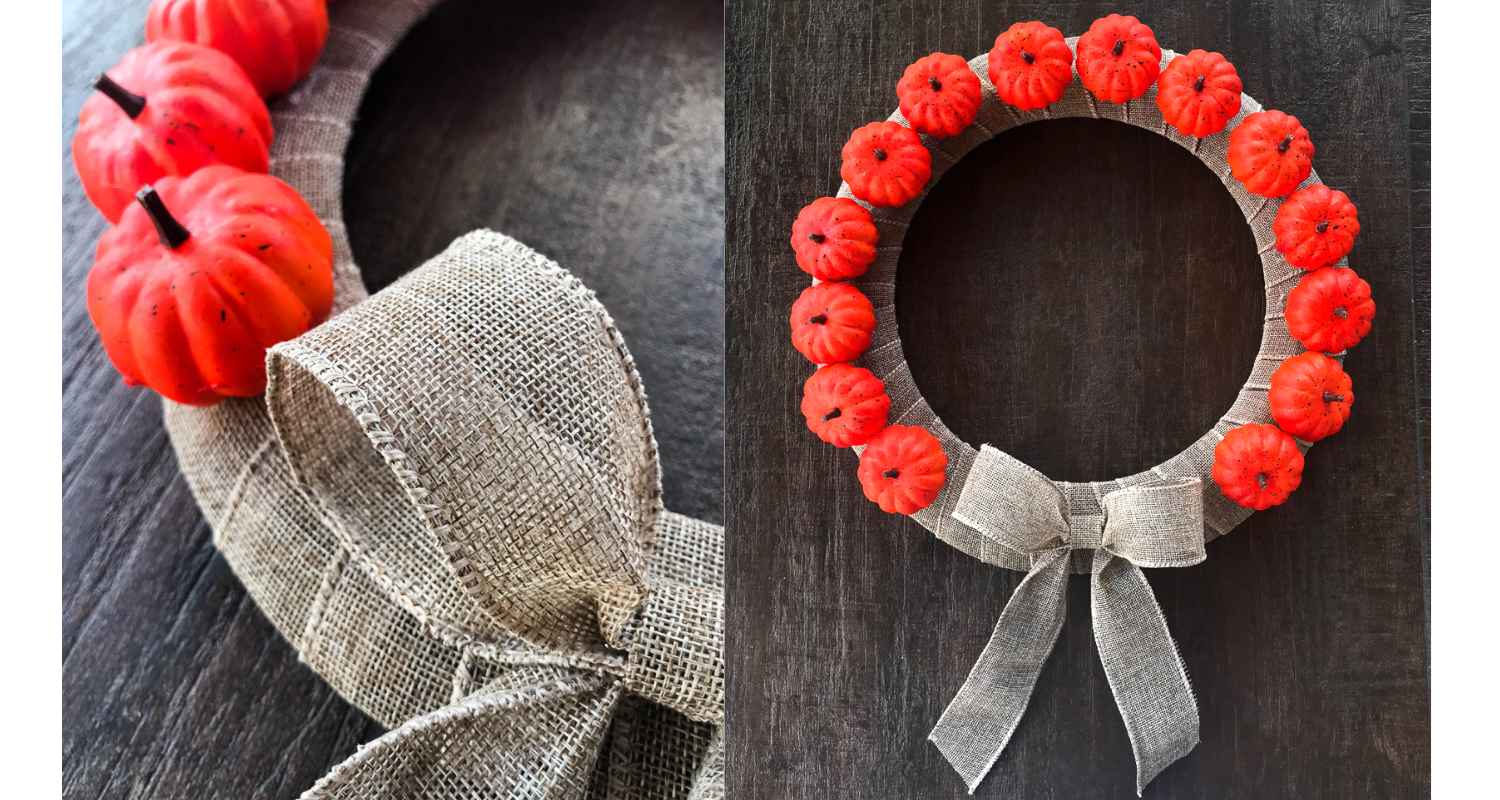 Dollar Store Pumpkin Burlap Halloween Wreath South Lumina Style