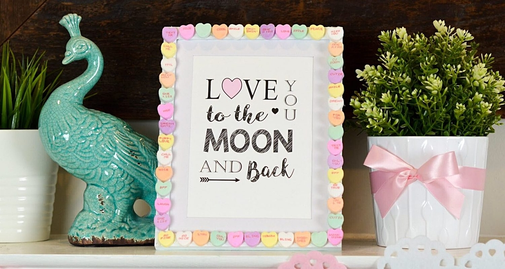 valentines day craft, valentine, conversation hearts, love you to the moon and back