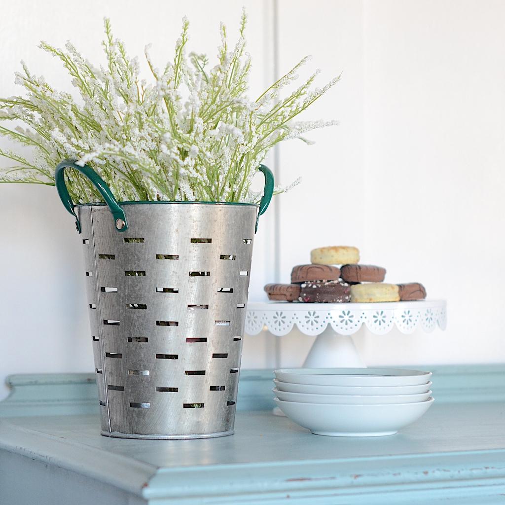 faux flowers, artificial flowers, decorating, buffet, michaels, farmhouse style