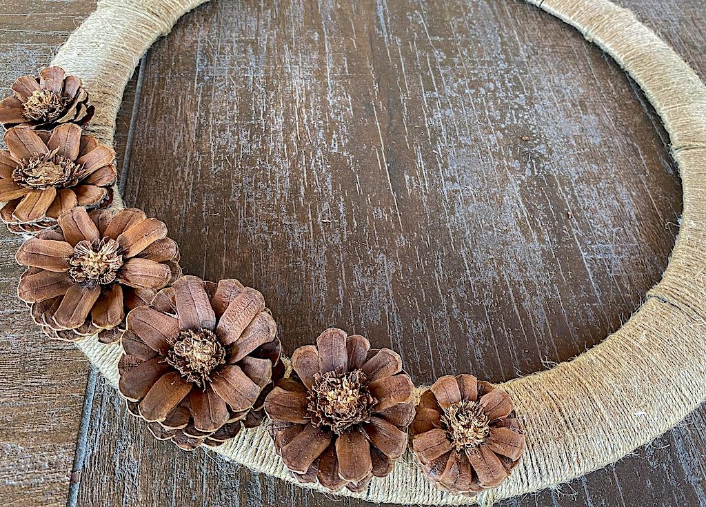 diy pinecone flower fall wreath