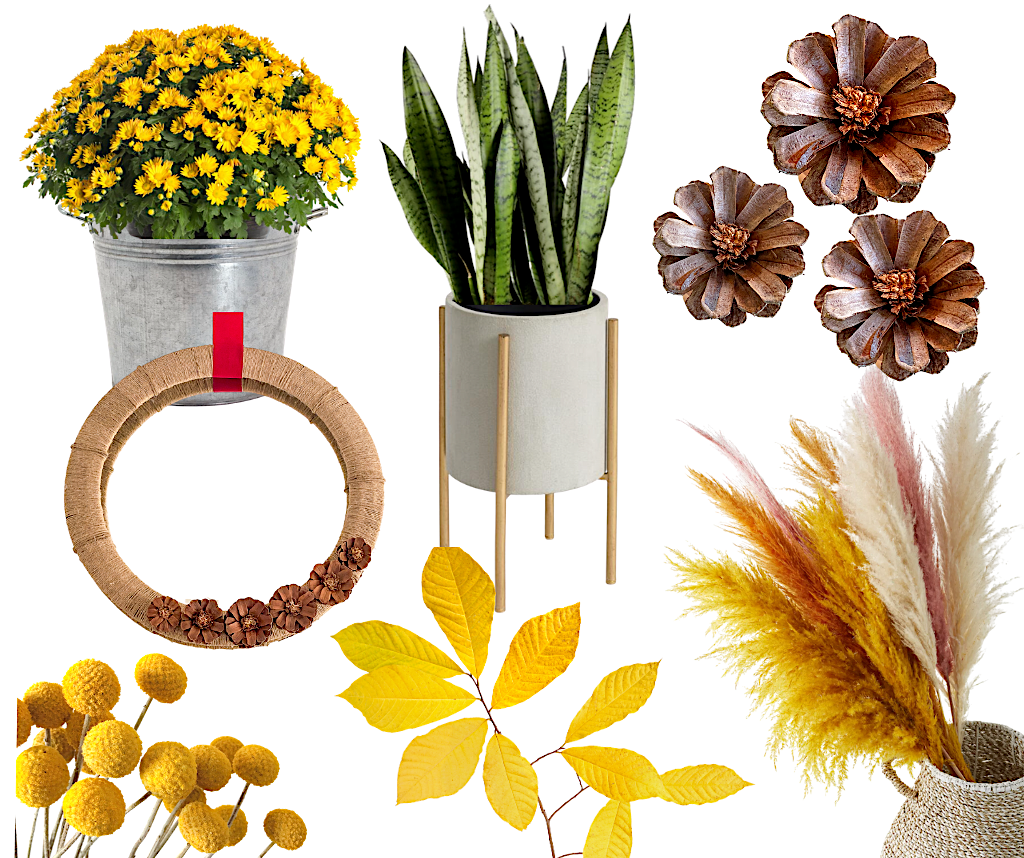 fall design trends natural elements leaves pinecones dried grasses
