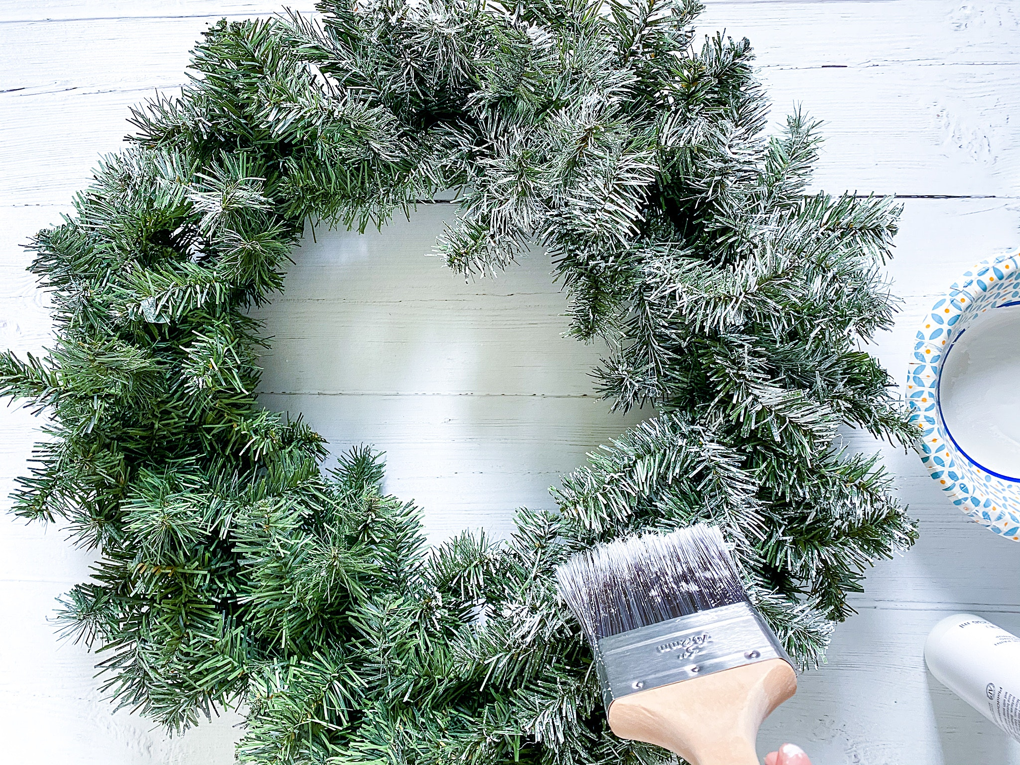 how to flock a christmas wreath the easy way