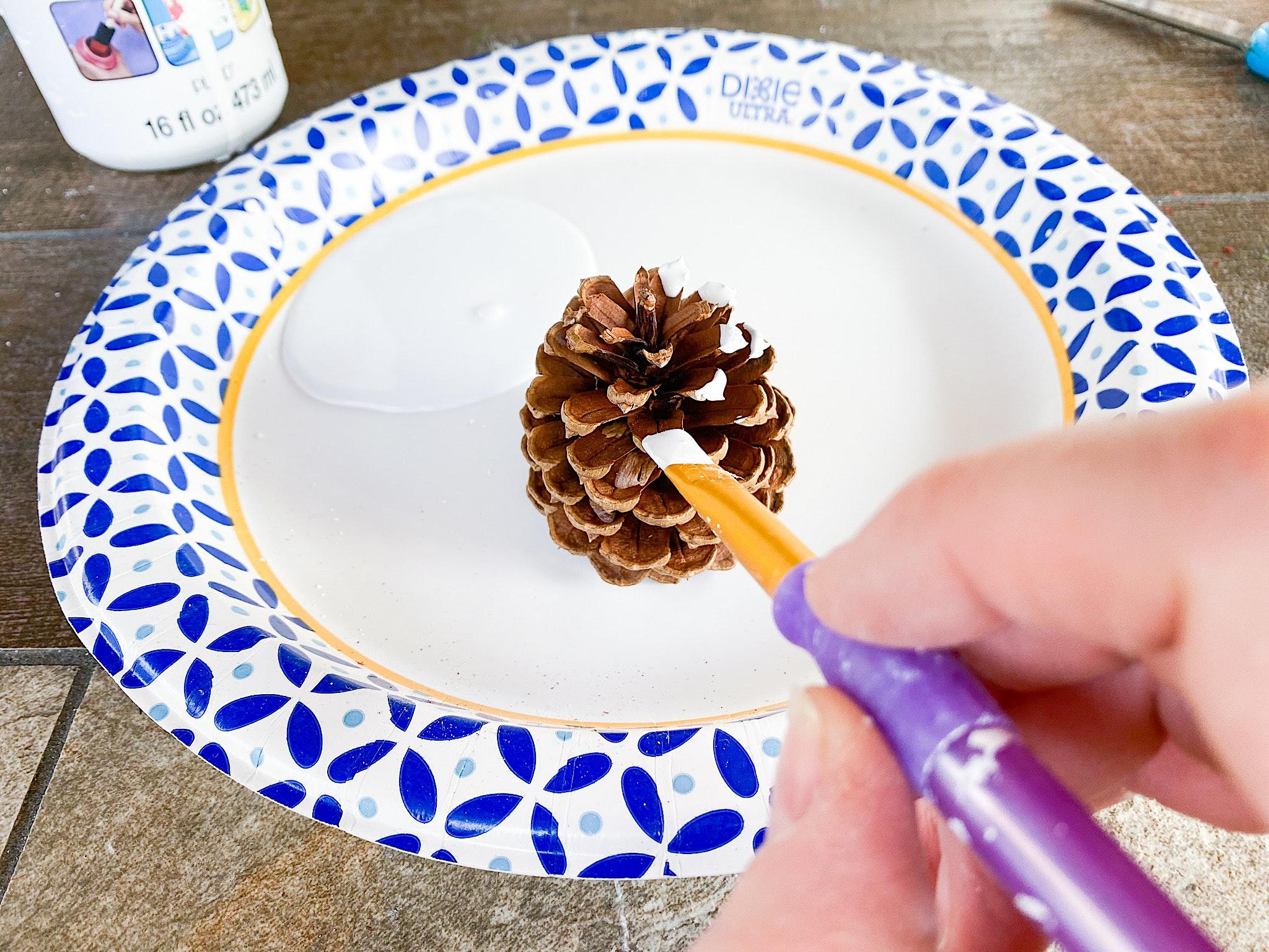 painting pinecones
