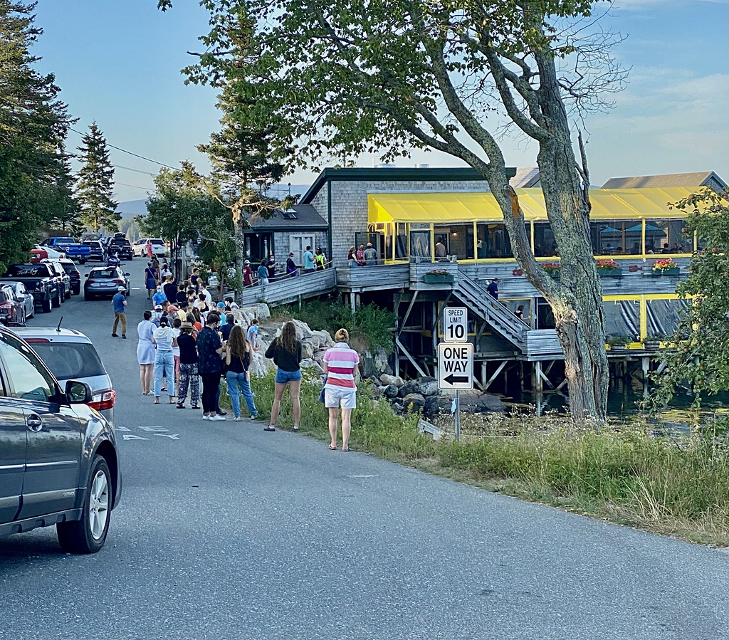 line out front of Thurston's lobster pound mt desert island maine
